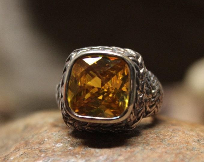 1990's Vintage Sterling Ring Vintage Ring 11.8 Grams Size 5.5  Vintage Silver Rings Citrine Vintage Silver Ring Unisex Silver Rings Gemstone