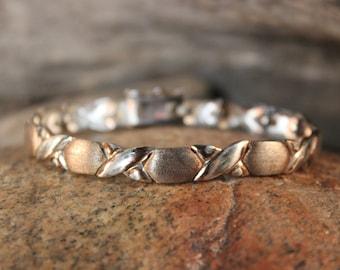"Vintage Silver Hugs and Kisses Sterling Bracelet 7"" 15.6 grams  weight 3/8"" 8mm Wide Silver Tennis  Bracelets Ladies Jewelry Vintage Silver"