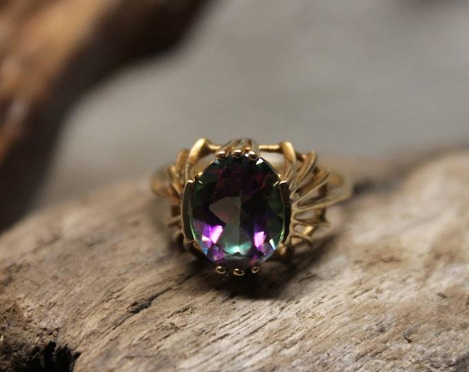 1980's Vintage 10K Gold Mystic Topaz Ring 3 Grams Size 7 Solid Gold Vintage Gold Ring Vintage 10K Vintage Large Mystic Topaz Solid Gold Ring