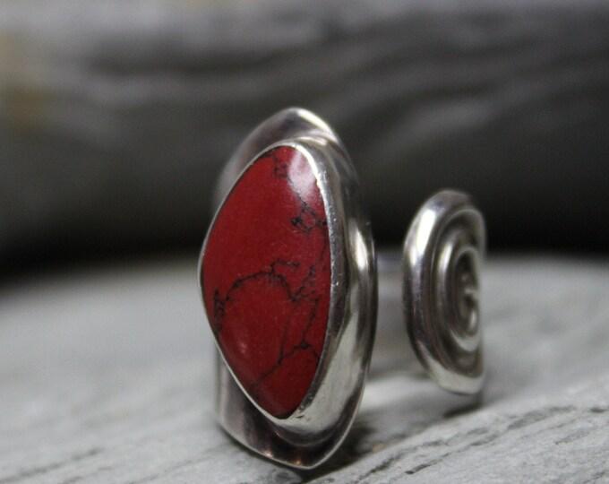 Vintage Jasper Silver Ring Size 6 Adjustable 9.1 Grams Vintage Sterling Silver Jasper Ring large Silver Ring Mens Large Ring Vintage Mexico