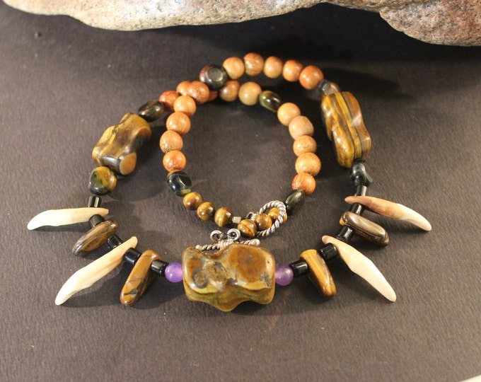 """Wolf Tooth Necklace 20"""" HandCrafted with Tigers Eye Nuggets Amethyst Bone. Custom. Unique.Healing. African. Native American Tribal Spiritual"""