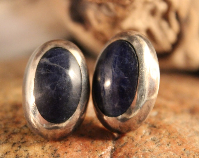 Mexico Vintage Sterling Silver Blue Lapis Earrings 9.5 Grams Signed Vintage Silver Earrings Blue Lapis Silver Earrings Woman silver Earrings