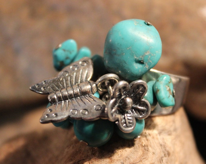 Vintage Turquoise Butterfly Silver Ring Size 7 Weight 10.3 Grams Sterling Butterfly Rings Butterfly Turquoise Ring Vintage Rings Unisex Ring