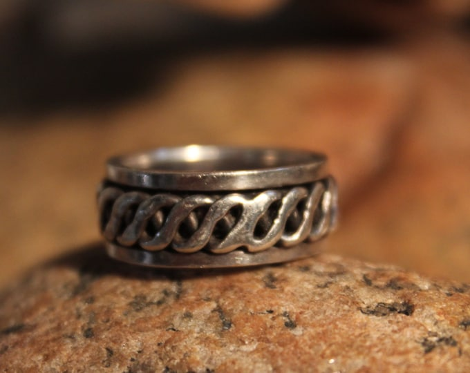 Large Mens Ring Mexico Sterling Silver Mens Spinner Ring 8 Grams Size 6.5 Stamped 925 Mexico  Ring Mens Ring Wide Band sterling Silver