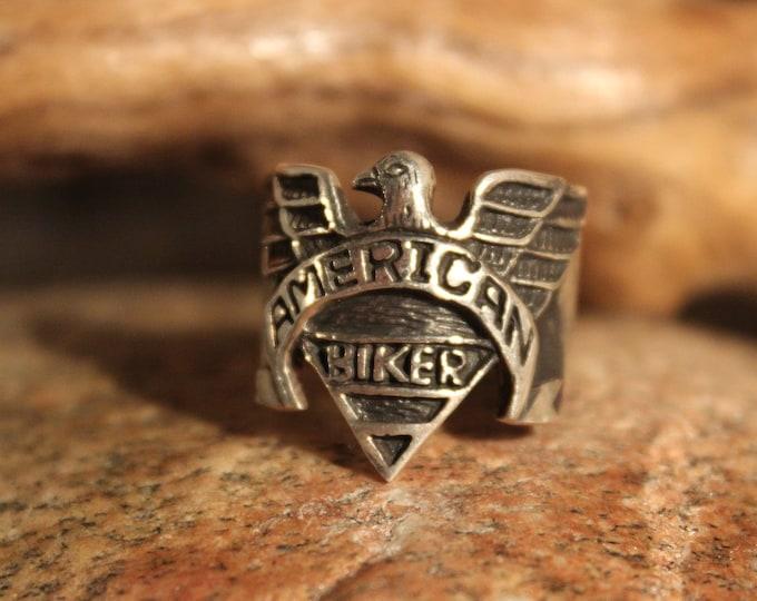 American Eagle Ring Sterling Silver Biker Ring Size 9 American Eagle Mens Ring 11.3 Grams Sterling Biker ring Vintage Silver Mens Biker Ring