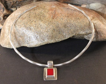 Vintage Sterling Silver Mexico Collar Necklace Large Coral Silver Pendant Heavy 37.6 Grams Choker Coral Necklace Sterling Mexico signed