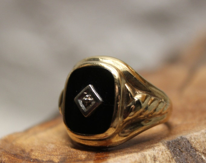 Vintage 1960's Dason Gold Onyx Ring Men Diamond Ring 10K Solid Gold Mens Ring 5.5 Grams Size 8 Mens Onyx Ring Mens 10K Onyx Signet Ring Gold