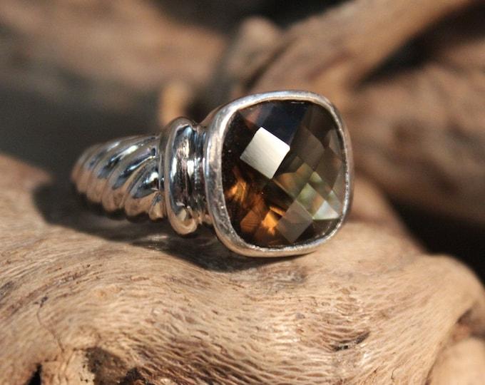 Vintage Sterling Silver Smokey Quartz Ring Vintage Ring Size 7 Vintage Silver Rings 6.7 Grams Mens Vintage Silver Ring Unisex Silver Rings