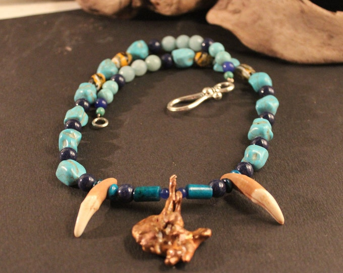 """Wolf Tooth Necklace 20"""" Arizona Mined Natural Copper Nugget African Topaz Azurite Chrysocolla Blue Sapphire Turkey, Blue Turquoise Jade"""
