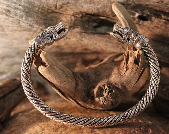Viking Silver Wolf Bracelet Viking Norse Cuff Bracelet Norse Silver Viking Wolf Head Bracelet 33 Grams Viking Jewelry Norse cuff Bracelet