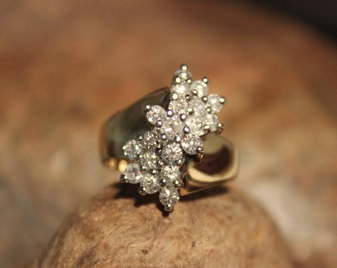 1980's Vintage Diamond Ring 14K Yellow Gold 1 CTW Diamond Cluster Waterfall Ring 6.4 Grams Size 5.5 Diamond Vintage Diamond Waterfall Ring