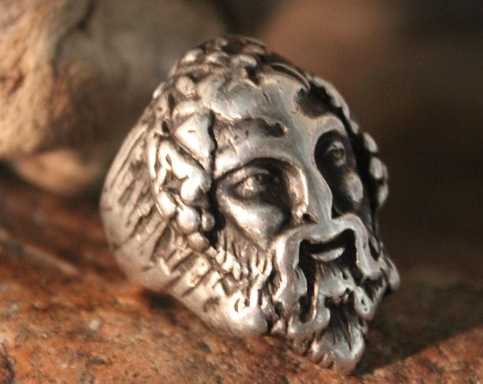 Large Greek God Ring Size 9.5 Mens Large Sterling Silver Ring 27 Grams Zeus Greek God Sterling Silver Rings Mens large Silver Rings Mens