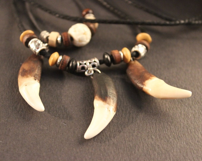 Large Wolf Tooth Necklace Wolf Teeth Necklace Wolf Necklace  Wolf Tooth Necklace Adjustable African Native American Tribal Spiritual Healing