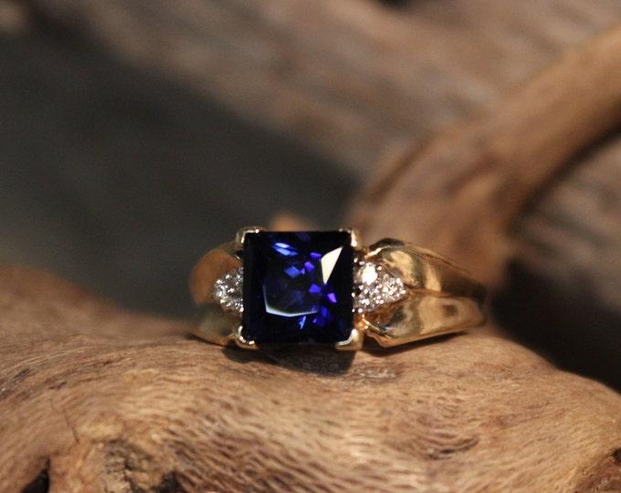 Vintage 10k Gold Diamond Ring 4.9 Grams Blue Sapphire & Diamond Ring Size 6.5 Vintage Diamond Gold Rings  Vintage Sapphire Diamond Rings