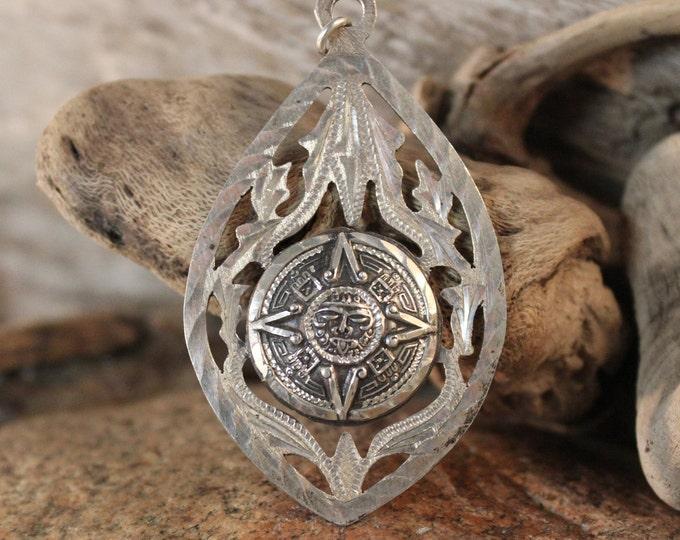 Large Aztec Sun Pendant Sterling Silver Aztec Calendar Pendant Heavy 14.7 Grams Stamped Eagle 28 Silver Sun Pendant Mexico Necklace Pendant