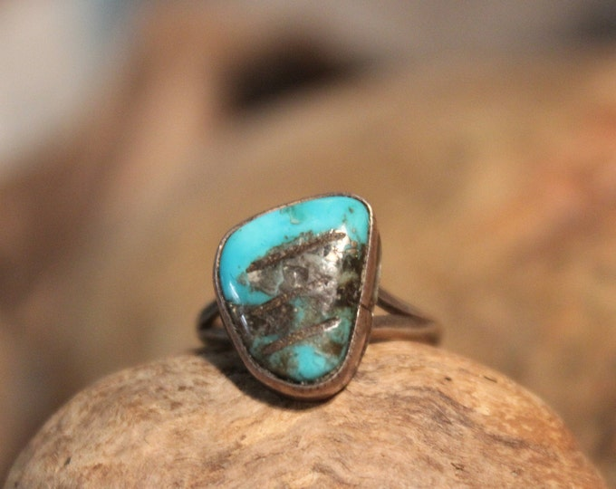 Navajo Native American Silver Turquoise Ring Weight 2.9 Grams Size 5.25 Turquoise Inlay Sterling Silver Ring Native American Sterling Rings