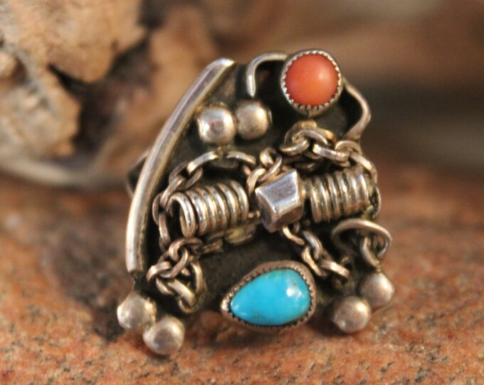 Vintage Navajo Sterling  Silver Turquoise Coral Ring Native American Hand Signed RTT 8.1 Grams  Size 9 Sterling Turquoise Ring Coral  Ring