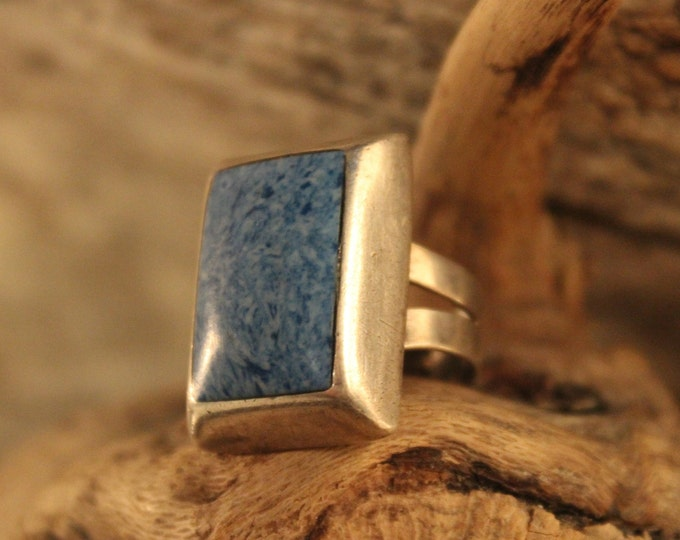 Sterling Mexico Large Sodalite Inlay Ring Mens Ring 10.4 Grams Size 5 Mens Silver Rings Vintage Mens Rings Mexican Vintage Ring Mens Rings
