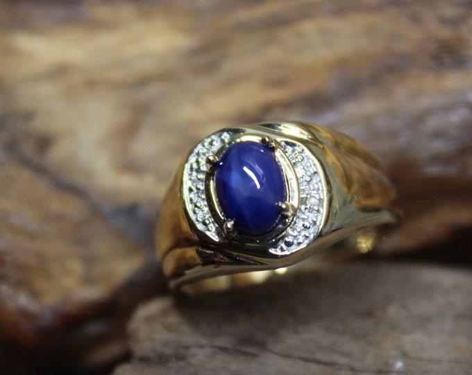 1990's Vintage Blue Star Sapphire & Diamond Ring 10K Gold Mens Ring 4.1 Grams Size 10.5 Vintage Mens Gold Diamond Ring  Star Sapphire Ring