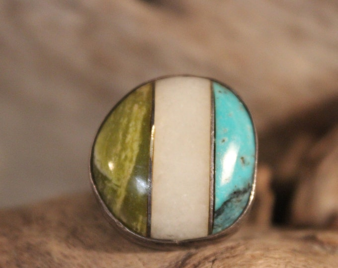 Navajo Zuni Native American Sterling Silver Ring Size 6 Weight 8.2 Grams Turquoise Marble Green Onyx Ring Silver Turquoise Ring Mens Rings