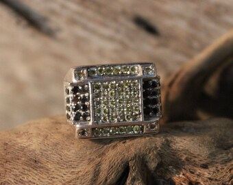 Vintage 1980's Men Ring Cubic Zirconia Ring Man Sterling Gentlemans Deco Ring Size 8.5 Heavy 15.8 grams Mens Silver Ring Heavy Mens ring