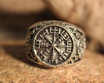 Large Mens Rustic Viking Vegvisir Compass Ring Size 10 Runic Compass Ring 11.7 Grams Mens Viking Ring Viking Rings Mens Viking Norse Rings