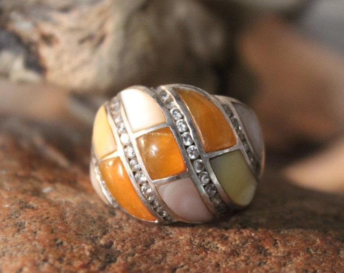 Vintage Sterling Silver Orange Carnelian Ring Size 8 Weight 15.1 Grams Ladies Vintage Rings Vintage MOP Ring Vintage cubic Zirconia Ring