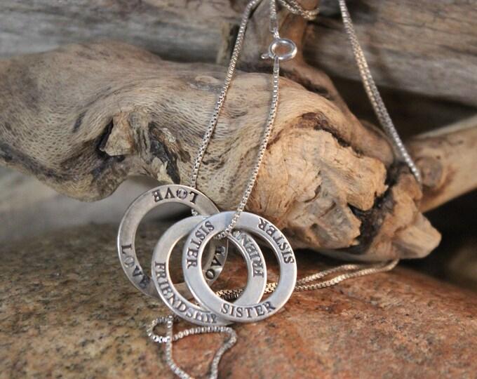 "Vintage Sterling Friendship Pendant Necklace 11.9 Grams 24"" Sterling Box Chain Friendship Necklace Vintage Sterling Pendants Necklaces"