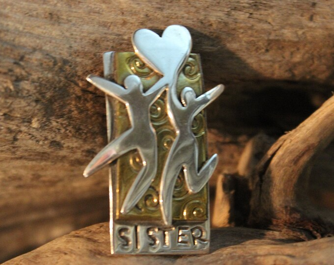 Large Sterling Silver Sisters Sterling Silver Pin  12.9 grams Mexico Far Fetched PIn Sterling silver Friendship pin Vintage sterling pin