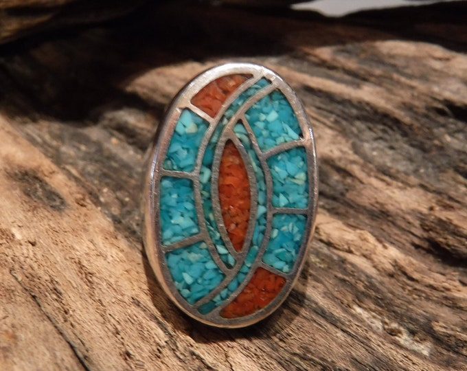 Mens Ring Heavy Sterling Silver Navajo Native American Vintage 21.2 grams Size 9.5 Mens Ring large Silver Navajo Turquoise Coral Inlay Ring