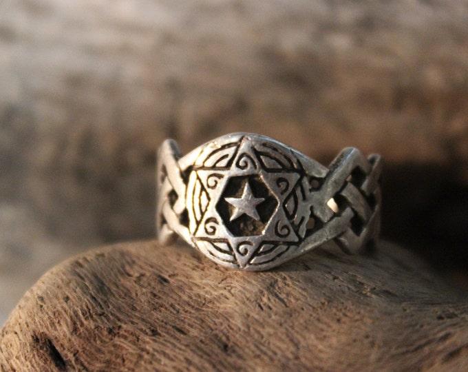 Vintage Jewish Star of David Silver Ring Size 7 Weight 4.8 Grams Mens Rings Ladies Rings Vintage Silver Ring Stamped Mens vintage Rings