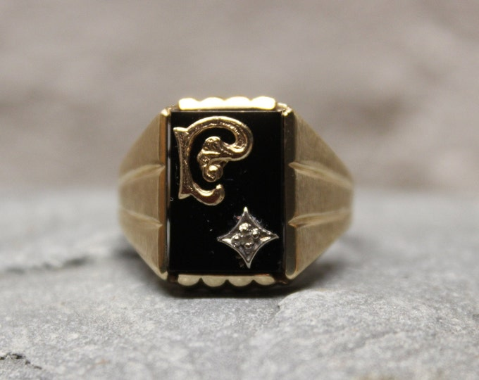 1970's Vintage Signet Ring Mens 10K Solid Yellow Gold Ring 5.2 Grams Size 10  Mens Solid Gold Initial Ring Vintage Gold Rings Men Gold Rings