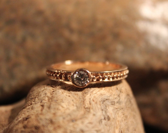 Diamond Solitaire Ring 1/4ctw Diamond Ring 14K Rose Gold Diamond Ring Size 7 Vintage Diamond Solitaire Ring Vintage Diamond Engagement Ring