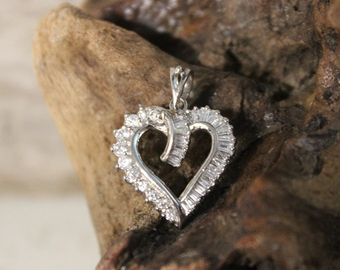 "Vintage Sterling Silver Heart Pendant Vintage Crystal Pendant 3.1 Grams 3/4"" x 1"" Sterling Silver  Open Heart Necklace Pendant Vintage Heart"