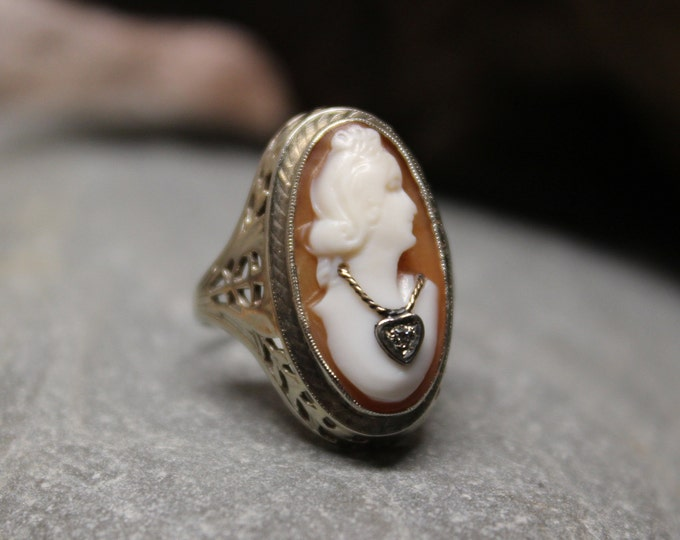 1920's Vintage 14k Solid Gold Cameo & Diamond Ring 3 Grams Size 4 Shell Cameo Gold Ring Yellow Gold Diamond Rings Vintage Cameo Gold Rings