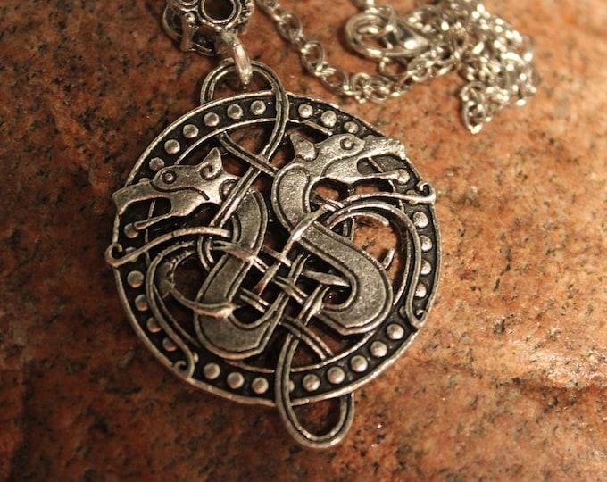 """Odin Norse Viking Celtic Knots Dragon Pendant Necklace Nordic Pendant Necklace Norse Dragon Pendant 15 Grams 20"""" Viking Dragons Pendant"""