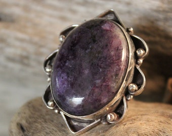 Large Vintage Charoite Silver Ring Size 4.5 Weight 22.6 Grams Large Vintage Rings Mens vintage Rings  Vintage Womans  Silver Charoite Ring