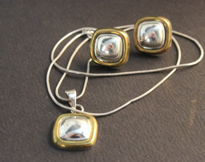 Vintage Sterling Silver Mexico Necklace & Earrings Set 19.4 Grams Vintage silver Necklace Vintage Silver Earrings Vintage Mexico Jewelry 925