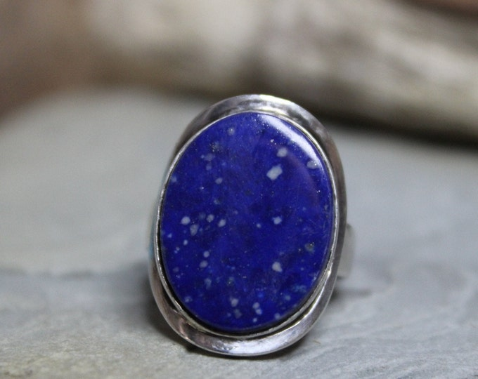 Chile Vintage Sterling Silver Blue Lapis Ring 5.4 Grams Size 6.5 Signed Vintage Silver rings Blue Lapis Vintage Ring Womans silver rings