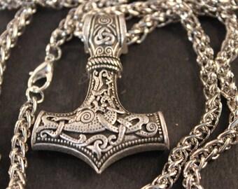 "Odin Thor's Hammer Mjolnir Hammer Pendant  55 Grams 22"" Viking Necklaces Pendant Jewelry Scandinavian Viking Wolf Hammer Pendant  Mjolnir"