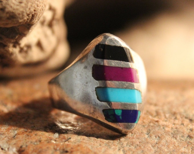 Large Mens Silver Ring Vintage Mexico Ring 10 Grams Size 10 Multi Stone Vintage Ring Mens Turquoise Rings Mens Silver Ring Mens Vintage Ring