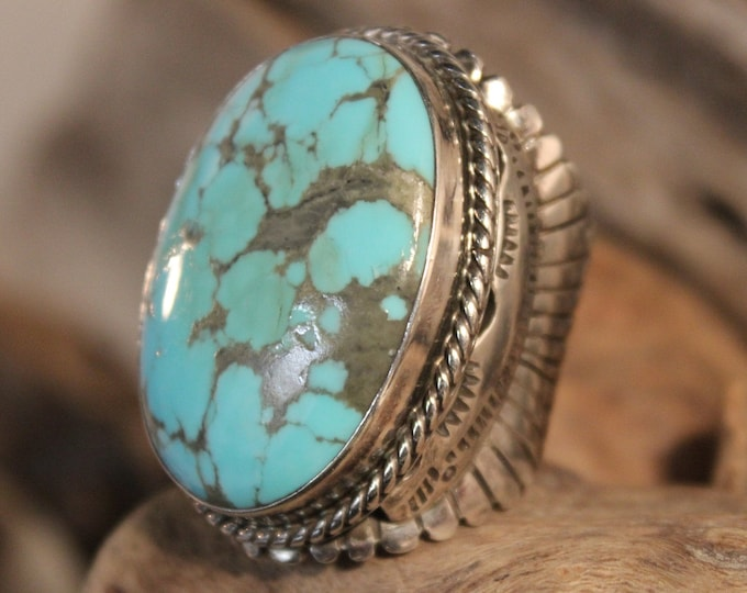 Mens Ring Heavy Sterling Silver Navajo Native American Vintage 46.4 Grams Size 11 Adjustable Large Silver Navajo Ring Mens Turquoise  Ring