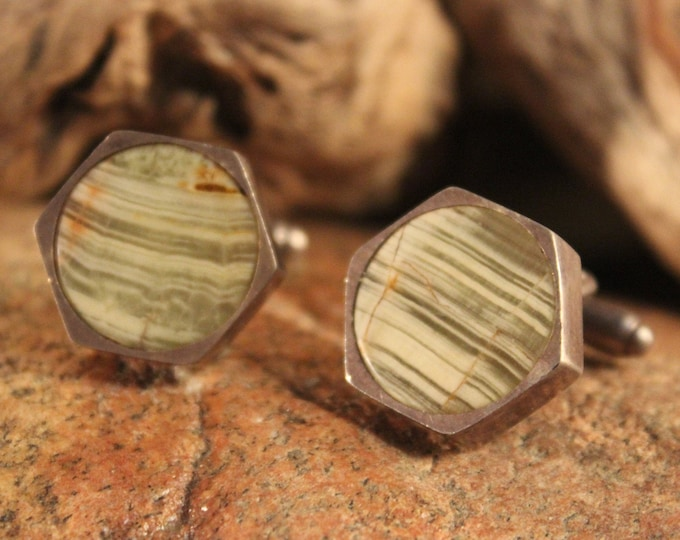 Mens Silver Cufflinks Vintage  Silver Green & White Onyx great patina. Aged. New. Natural. Unusual 1970's Solid Sterling Silver Mens Jewelry