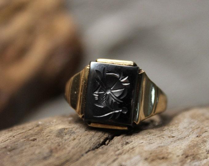 1940's Vintage Mens 10K Gold Soldier Ring 4.2 Grams Size 8.5 Vintage Mens 10K Yellow Gold Ring Roman Ring Mens Intaglio Ring Mens Gold Ring
