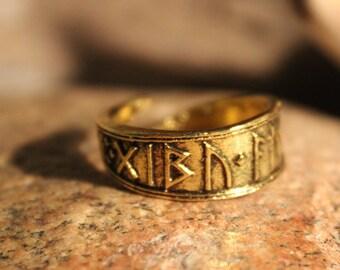 Norse Viking Vikinger Norse Alphabet Ring Odin's Valknut Rings Odin Viking Ring Size Adjustable 5.8 Grams Mens Viking Rings Mens Norse Rings