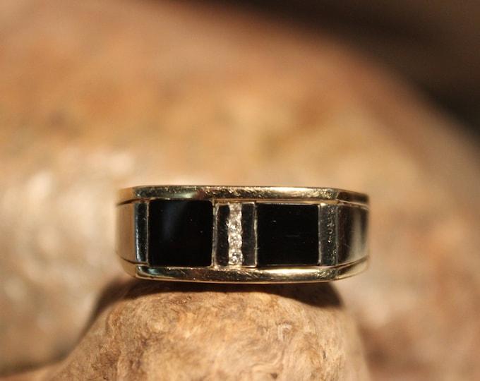 Vintage Deco 1930's Mens Diamond Ring Onyx 10K Solid Gold Mens Ring 6.3 Grams Size 11 Mens Vintage Diamond Ring Mens 10K Onyx Signet Ring