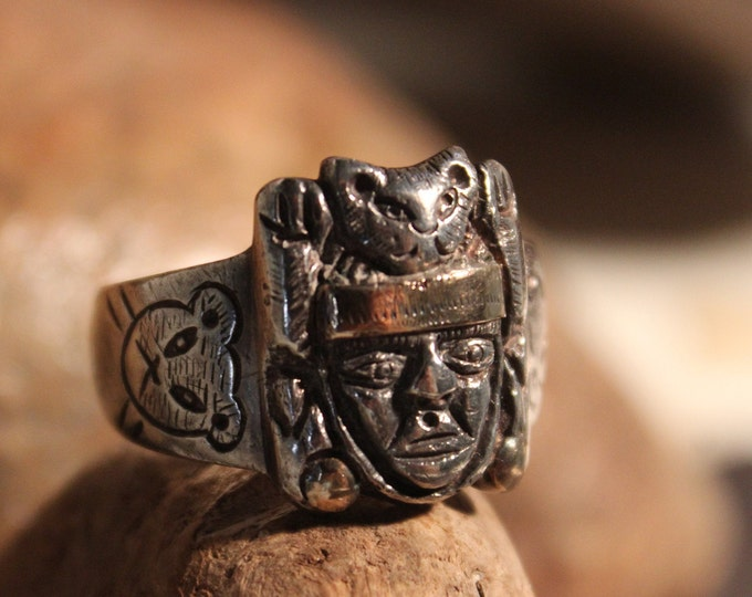 Large Rare Vintage Peruvian Sterling Silver 18K Gold Ring Size13 Weight 15.7 Grams Mens Silver Ring Signed Silver Inca Ring Man Vintage Ring