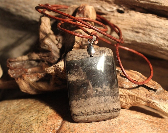 Hand Carved Pendant Necklace Large Natural Stone Pendant Picture Jasper Pendant Handmade Pendant Necklace Handmade Pendant Natural Pendant