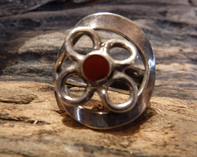 Vintage Hand Made Artist Sterling Silver Flower Carnelian Gemstone Ring Size 7.5 Weight 8.2 Grams Ladies Rings Ladies Jewelry Sterling