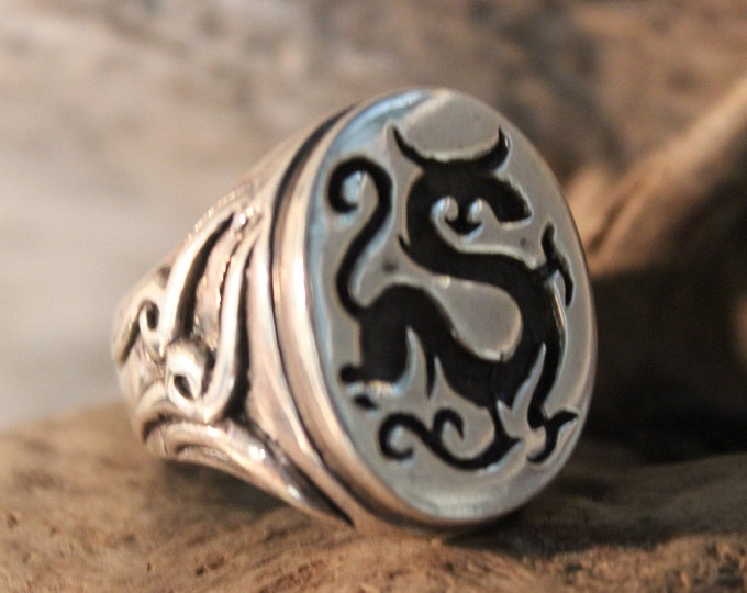 Norse Viking Dragon Ring Odin's Valknut Rings Odin Viking Sterling Silver Ring Size 10 Seal Ring 15.5Grams Mens Viking Rings Mens Rings